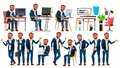 Office Worker Vector. Face Emotions, Various Gestures. In Action. Businessman Male. Turkish. Isolated Cartoon