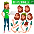 Office Worker Vector. Woman. Businessman Human. Lady Face Emotions, Various Gestures. Animation Creation Set. Isolated