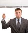 Office worker workers open white window blinds Royalty Free Stock Photography