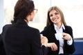 Office workers on coffee break, woman enjoying chatting Royalty Free Stock Photo