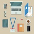 Office workplace with mobile devices and documents top view on isolated vector illustration Royalty Free Stock Images