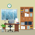 Office workspace bookshelf armchair lamp books potted plant window city silhouette Royalty Free Stock Photo