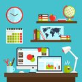 Office workstation design with personal computer lamp and stationery vector illustration Royalty Free Stock Image