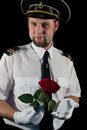 Officer giving the rose Royalty Free Stock Image