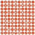 100 officer icons hexagon orange