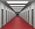 Offices a corridor with office doors entrances and a lift in the end Royalty Free Stock Images
