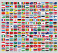 Official country flags an update of the of the countries of the new world Royalty Free Stock Images