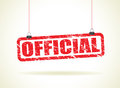 Official hanging sign a red Royalty Free Stock Images