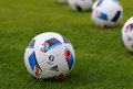 Official matchballs of uefa euro adidas beau jeu kyiv ukraine may match balls the tournament on the grass during the open training Stock Images