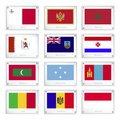 Official national flags on metal texture plates of malta montenegro morocco mari el montserrat mordovia maldives micronesia Royalty Free Stock Photo