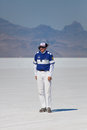 Official referee working bonneville salt flats utah september unidentified at the world of speed close to salt lake city Royalty Free Stock Photos