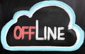 Offline concept handwritten with chalk on a blackboard Stock Image