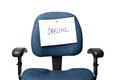 Offline office chair with an sign isolated on white background Stock Photography