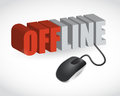 Offline sign and mouse illustration design over white Stock Photo