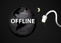 Offline web planet earth unplugged to the internet disconnected from the Royalty Free Stock Photography