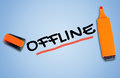 Offline word on blue background Stock Photo