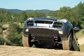 Offroad car on top of a hill Royalty Free Stock Photo