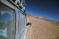 Offroad driving in desert vehicle crossing bolivian near salar de uyuni Royalty Free Stock Photography
