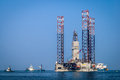 Offshore gas exploration rig part of in waddenzee netherlands Stock Image