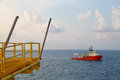 Offshore oil and gas production and exploration business production oil and gas plant and main construction platform in the sea Stock Photo