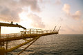 Offshore oil and gas production and exploration business production oil and gas plant and main construction platform in the sea Stock Images