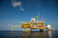 Offshore oil and gas production and exploration business production oil and gas plant and main construction platform in the sea Royalty Free Stock Photo