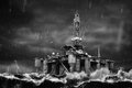 Offshore Oil Platform during strong storm in the middle of a sea Royalty Free Stock Photo
