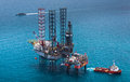 Offshore oil rig drilling platform in the gulf of thailand Royalty Free Stock Photo