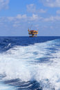 Offshore production platform in the middle of ocea ocean for oil and gas Royalty Free Stock Photography