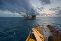 An offshore vessel during towing operation of an oil platform a rig move done by anchor handling Stock Image