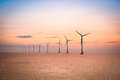Offshore wind farm at dusk Royalty Free Stock Photo
