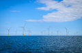 Offshore Wind Turbine in a Windfarm under construction Royalty Free Stock Photo