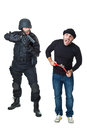Oh crap a scared burglar busted by a swat or police officer Royalty Free Stock Photos