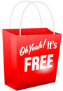 Oh Yeah Its FREE Red Shopping Bag Stock Photo