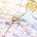 Ohio Highway Map Close Up Royalty Free Stock Photo