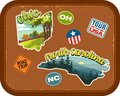 Ohio, North Carolina travel stickers with scenic attractions