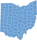 Ohio State map  by counties Royalty Free Stock Photo