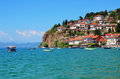 Ohrid lake macedonia photo of city and Stock Image