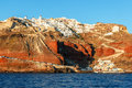 Oia and ammoudi beach in santorini greece before sunset island hundreds of people stay on the streets wait for the famous Royalty Free Stock Photography