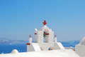 Oia bell tower in santorini island greece Royalty Free Stock Image