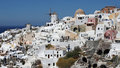 Oia built on the rim of collapsed volcano is considered as the most beautiful and oldest settlement on santorini island Royalty Free Stock Photography