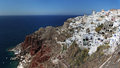 Oia built on the rim of collapsed volcano is considered as the most beautiful and oldest settlement on santorini island Royalty Free Stock Image
