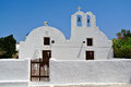 Oia church with bell tower in santorini island greece Stock Photography