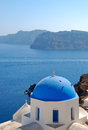 Oia church with mediterranean sea background in santorini island greece Royalty Free Stock Photos