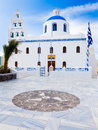 Oia church santorini greek orthodox in the town of greece europe Stock Images