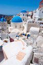 Oia churches on the island of Santorini, Greece. Royalty Free Stock Photo