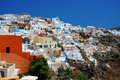 Oia at the greek island of santorini panorama Stock Photography