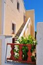 Oia at the greek island of santorini stairway in village on Royalty Free Stock Photo