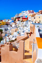 Oia on island of santorini greece colorful toy houses the Royalty Free Stock Photography
