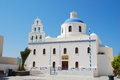 Oia orthodox church in santorini island greece Stock Images